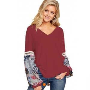 Printed Bubble Sleeve Splice Scarlet Tunic Top